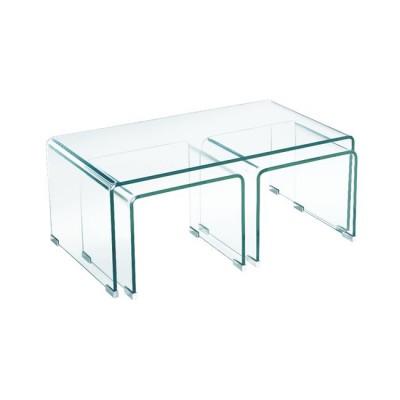 GLASSER Τραπεζάκια (1+2) Σαλονιού - Καθιστικού Διάφανο Γυαλί 12mm