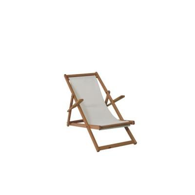 Σαιζ-Λόνγκ Ξαπλώστρα (με μπράτσα) Καρυδί, Text.Εκρού