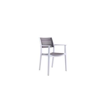 AKRON Πολυθρόνα PP Λευκή/Sand Beige