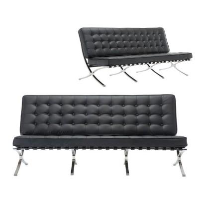 BARCELONA τ. Καναπές 3-θέσιος Pu Μαύρο