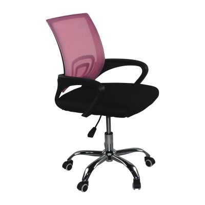 BF2101-F (χωρίς ανάκλιση) Χρώμιο Πολυθρόνα Ροζ/Μαύρο Mesh (Συσκ.2)