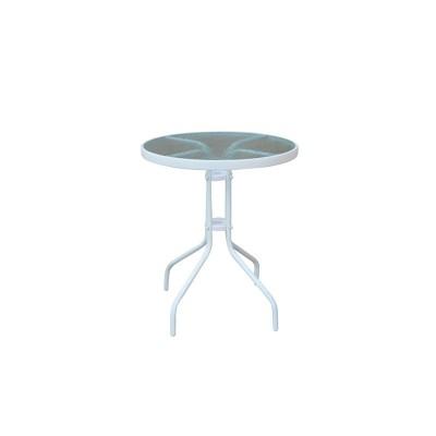 BALENO Τραπέζι Κήπου - Βεράντας, Μέταλλο Βαφή Άσπρο, Γυαλί Tempered