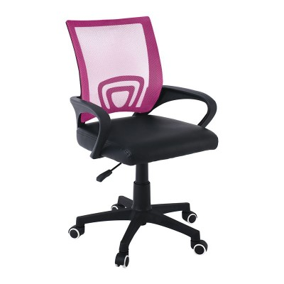 BF2101-P Πολυθρόνα Γραφείου χωρίς ανάκλιση Βάση Nylon / Mesh Ροζ - Μαύρο Pu (Συσκ.1)