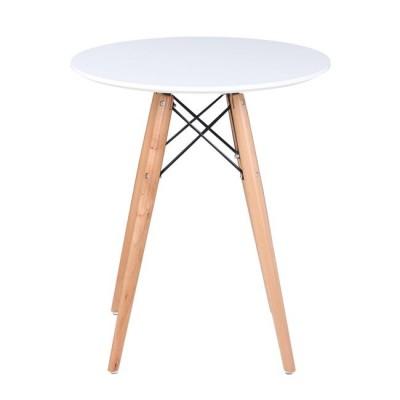 ART Wood Τραπέζι Φ60/H68cm Λευκό