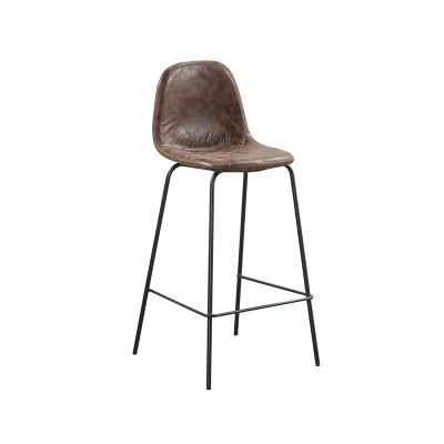 CELINA Σκαμπό BAR με Πλάτη, Κάθισμα Η.67cm, Μέταλλο Βαφή Μαύρο, Ύφασμα Suede Καφέ