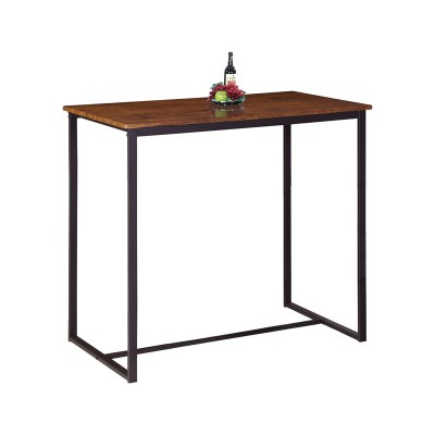 HENRY Τραπέζι BAR 100x60cm Μεταλ.Σκ.Καφέ/Καρυδί