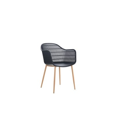 BERRY Πολυθρόνα Μεταλλική Φυσικό/PP-UV Μαύρο