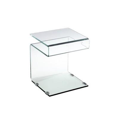 GLASSER Clear Βοηθ.Τραπεζάκι γυαλί 12 mm 42x38x48cm