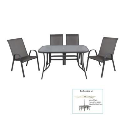 RIO Set Τραπεζαρία Κήπου Steel Ανθρακί-Γυαλί Clear-Textilene Γκρι : Τραπέζι + 4 Πολυθρόνες