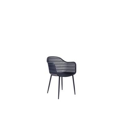 BERRY Πολυθρόνα Μεταλλική Μαύρη/PP-UV Μαύρο