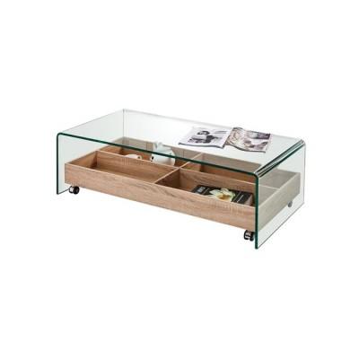 GLASSER Wood Τραπεζάκι Σαλονιού με Tray Απόχρωση Sonoma Γυαλί Clear 12mm