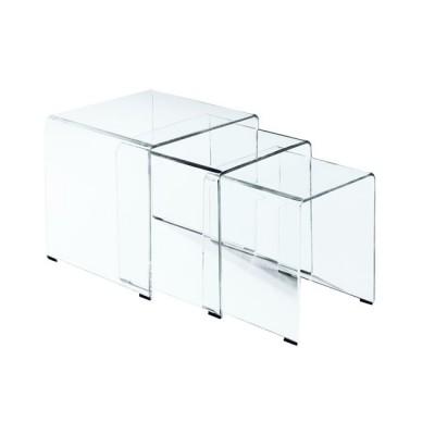 GLASSER Clear Set-3 Τραπεζάκια γυαλί 10mm 42x42x42cm