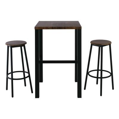 MAYER Set Bar (Τραπ.60x60cm+2 Σκαμπώ) Μεταλ.Ανθρακί/Antique Brown