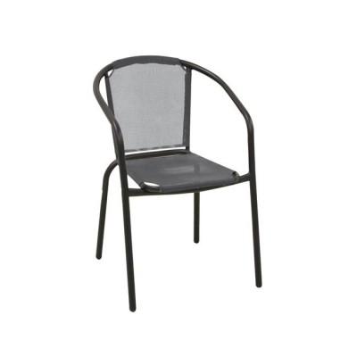 BALENO Πολυθρόνα Μεταλ.Μαύρη/Textilene Γκρι
