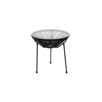 ACAPULCO Τραπ.Φ.50cm Μετ.Μαύρo, Plastic Rattan Μαύρο