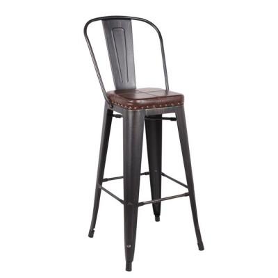 RELIX Σκαμπό BAR με Πλάτη, Μέταλλο Βαφή Antique Black, Κάθισμα PU Σκούρο Καφέ