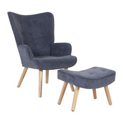 ALMA Set Πολυθρόνα & Σκαμπώ, Ύφ.Αν.Μπλε Velure (K/D)