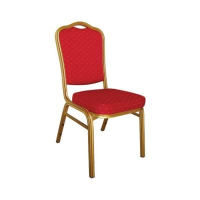 HILTON Καρέκλα Μεταλλική Gold/Ύφασμα Κόκκινο