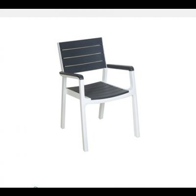 AIGLI Πολυθρόνα Στοιβαζόμενη , PP Άσπρο - Ανθρακί