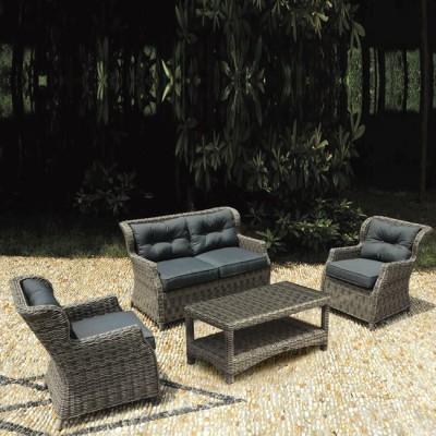 VITORIA Set Σαλόνι Καθιστικό Κήπου Τραπεζάκι + 2 Πολυθρόνες + 2Θέσιο Alu-Wicker Grey Brown