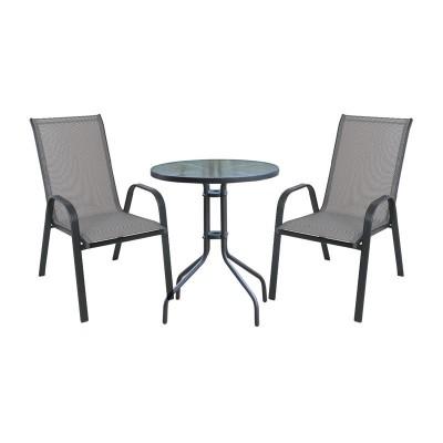 RIO Set Κήπου - Βεράντας : Τραπέζι + 2 Πολυθρόνες Μέταλλο Ανθρακί - Textilene Γκρι