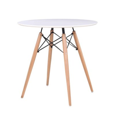 ART Wood Τραπέζι Φ80/H74cm Λευκό