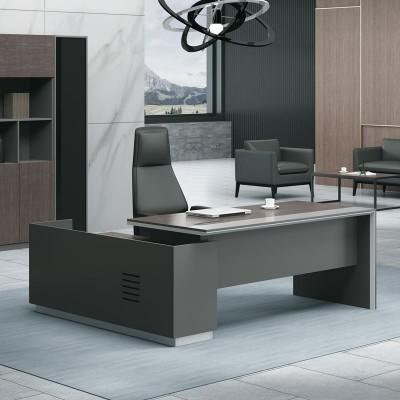 ADVANCE Γραφείο -Αρ-180x160cm Σκ.Καρυδί/Γκρι