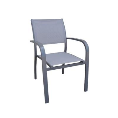 AMIRAL Πολυθρόνα ALU Ανθρακί/Textilene Γκρι