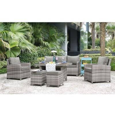 MONROE Set Σαλόνι - Καθιστικό Τραπεζαρία Κήπου - Βεράντας Μέταλλο - Wicker Grey White