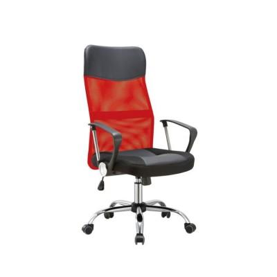 BF2400-PVC Πολυθρόνα Διευθυντή Χρώμιο/Pvc&Mesh Κόκκινο/Μαύρο