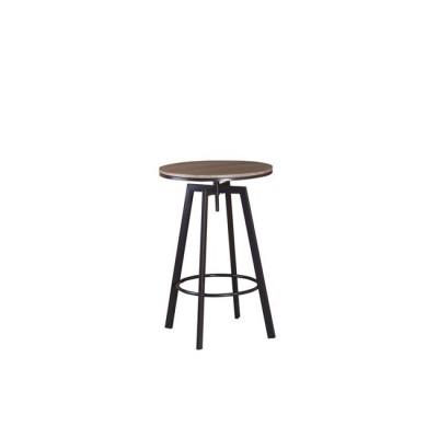 YORK Τραπέζι BAR Φ60cm Μεταλ.Σκ.Καφέ/Καρυδί