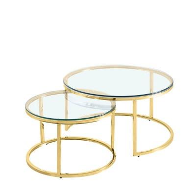 LUSACA COFFEE TABLE ΧΡΥΣΟ ΔΙΑΦΑΝΟ D80/60xH43/38cm