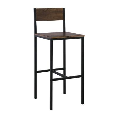 STAB Σκαμπό BAR με Πλάτη, Μέταλλο Βαφή Ανθρακί, Κάθισμα Απόχρωση Antique Brown