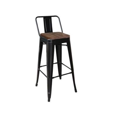 RELIX Wood Σκαμπό BAR με Πλάτη, Μέταλλο Βαφή Μαύρο Μatte, Ξύλο Απόχρωση Dark Oak