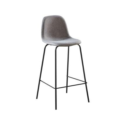 CELINA Σκαμπό BAR με Πλάτη, Κάθισμα H.67cm, Μέταλλο Βαφή Μαύρο, Ύφασμα Γκρι