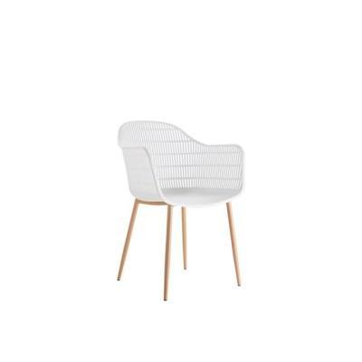 BERRY Πολυθρόνα Μεταλλική Φυσικό/PP-UV Λευκό