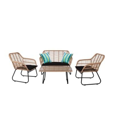 SALSA Set Σαλόνι Κήπου Steel Μαύρο Wicker Φυσικό : Τραπέζι + Καναπέ 2Θέσιο + 2 Πολυθρόνες
