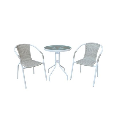 BALENO Set (Τραπ.Φ60cm+2 Πολ) Μεταλ.Άσπρο/Beige Wicker