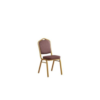 HILTON Καρέκλα Μεταλλική Gold/Ύφασμα Καφέ