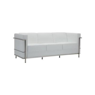 GENOVA Καναπές 3-θέσιος Inox/Pu Άσπρο