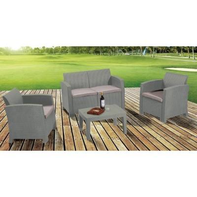 SAVANNA Set Σαλόνι Κήπου Βεράντας K/D PP-UV Sand Grey Μαξιλάρια Μπεζ