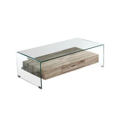 GLASSER Wood Τραπεζάκι Σαλονιού Γυαλί 12mm - Ράφι με Συρτάρι Απόχρωση Δρυς