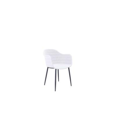 BERRY Πολυθρόνα Μεταλλική Μαύρη/PP-UV Λευκό