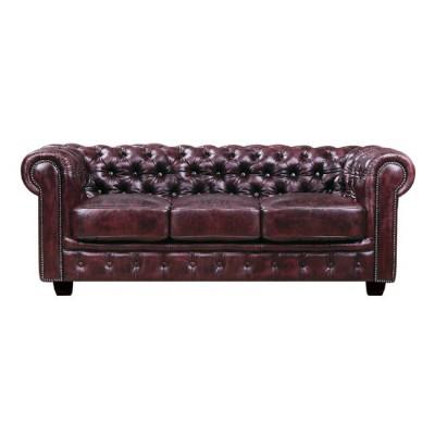 CHESTERFIELD 689 Καναπές 3Θέσιος Σαλονιού - Καθιστικού, Δέρμα, Απόχρωση Antique Red
