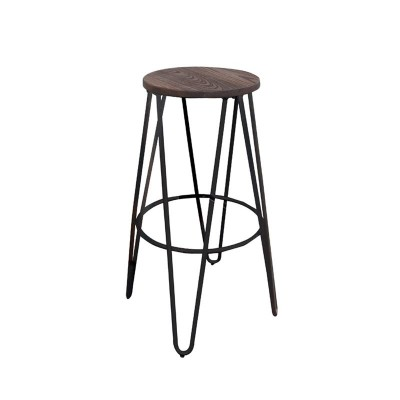 ARCO Wood Dark Oak Σκαμπώ Bar H.67cm Antique Black