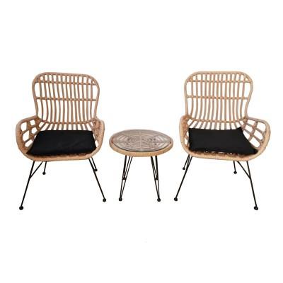 SALSA Duo Set Καθιστικό Κήπου Μέταλλο Μαύρο - Γυαλί - Wicker Φυσικό: Τραπεζάκι+2 Πολυθρόνες