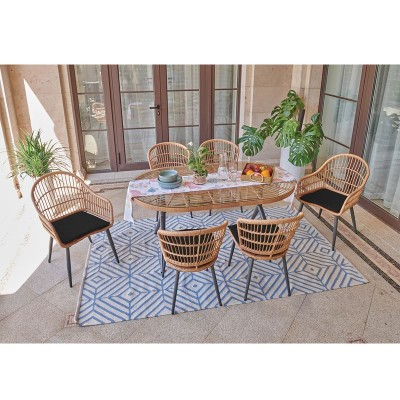 SALSA Τραπεζαρία Κήπου:Μέταλλο Βαφή Μαύρο-Wicker Φυσικό: 2 Πολυθρόνες+ 4 Καρέκλες+Τραπέζι