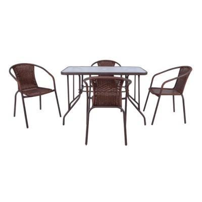 BALENO Set (Τραπ.110x60cm+4 Πολ) Μεταλ.Καφέ/Brown Wicker