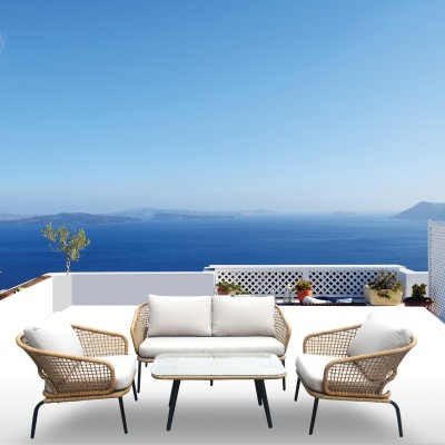 SALSA Plus Set Σαλόνι Κήπου ALU Μαύρο-Γυαλί-Wicker Φυσικό: Τραπέζι+2 Θέσιος+2 Πολυθρόνες