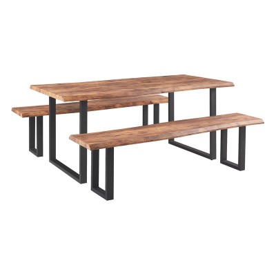 LIZARD 3D PAPER Set : Τραπέζι 180x90cm + 2 Πάγκοι Μέταλλο Βαφή Μαύρο / Dark Acacia